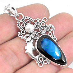 14.41cts natural blue doublet opal in onyx 925 silver dolphin pendant p53646