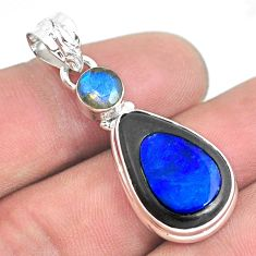 12.07cts natural blue doublet opal in onyx 925 silver pendant jewelry p53685