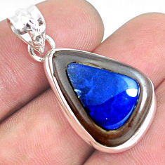 17.22cts natural blue doublet opal in onyx 925 sterling silver pendant p53589