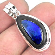 16.73cts natural blue doublet opal in onyx 925 sterling silver pendant p53593