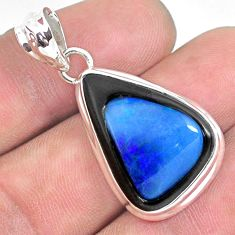 18.15cts natural blue doublet opal in onyx 925 sterling silver pendant p53594