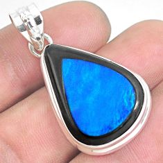 20.07cts natural blue doublet opal in onyx 925 sterling silver pendant p53610