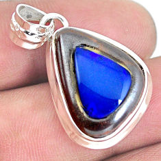 16.54cts natural blue doublet opal in onyx 925 sterling silver pendant p53626