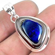 16.85cts natural blue doublet opal in onyx 925 sterling silver pendant p53643