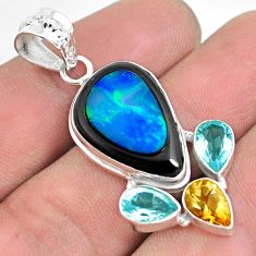 16.54cts natural blue doublet opal in onyx citrine 925 silver pendant p53668