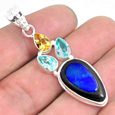 15.02cts natural blue doublet opal in onyx citrine 925 silver pendant p53669