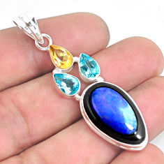 16.54cts natural blue doublet opal in onyx citrine 925 silver pendant p53670