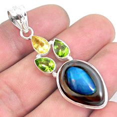 17.42cts natural blue doublet opal in onyx citrine 925 silver pendant p53674