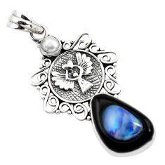 14.88cts natural blue doublet opal in onyx pearl 925 silver pendant p53755