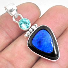 14.47cts natural blue doublet opal in onyx topaz 925 silver pendant p53576