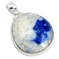 30.88cts natural blue dumortierite 925 sterling silver pendant jewelry d31111