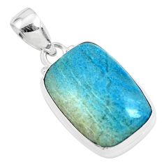 17.65cts natural blue dumortierite 925 sterling silver pendant jewelry p46278