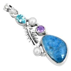 16.43cts natural blue dumortierite amethyst 925 sterling silver pendant p49489