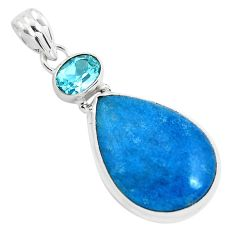 16.20cts natural blue dumortierite pear topaz 925 sterling silver pendant p40847