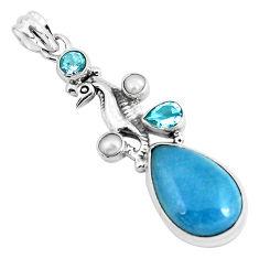 19.99cts natural blue dumortierite topaz 925 silver seahorse pendant p49499