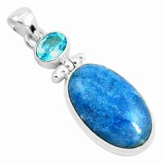 20.88cts natural blue dumortierite topaz 925 sterling silver pendant p40842
