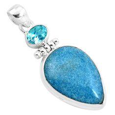 18.68cts natural blue dumortierite topaz 925 sterling silver pendant p40850