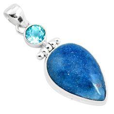 21.48cts natural blue dumortierite topaz 925 sterling silver pendant p40856