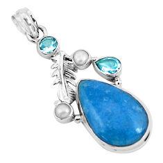 19.50cts natural blue dumortierite topaz 925 sterling silver pendant p49495