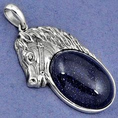 NATURAL BLUE GOLDSTONE 925 STERLING SILVER HORSE FACE PENDANT JEWELRY H30373