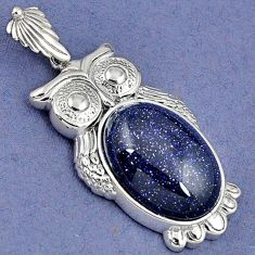 NATURAL BLUE GOLDSTONE OVAL 925 STERLING SILVER OWL PENDANT JEWELRY H30390