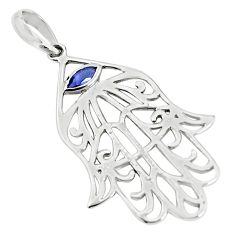 0.29cts natural blue iolite 925 sterling silver hand of god hamsa pendant p36321
