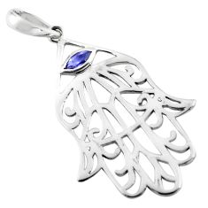 1.08cts natural blue iolite 925 sterling silver hand of god hamsa pendant p82498