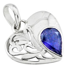 2.78cts natural blue iolite 925 sterling silver heart pendant jewelry p73799