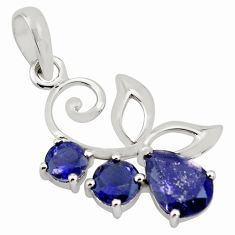 3.93cts natural blue iolite 925 sterling silver pendant jewelry p82017