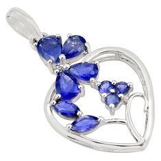 7.15cts natural blue iolite 925 sterling silver pendant jewelry p82057