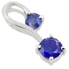 1.78cts natural blue iolite 925 sterling silver pendant jewelry p82095