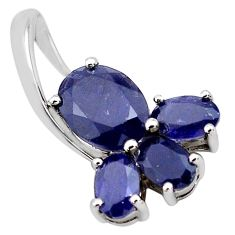 6.14cts natural blue iolite 925 sterling silver pendant jewelry p83839