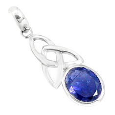 3.22cts natural blue iolite oval 925 sterling silver pendant jewelry p36498