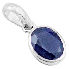 2.58cts natural blue iolite oval 925 sterling silver pendant jewelry p73714
