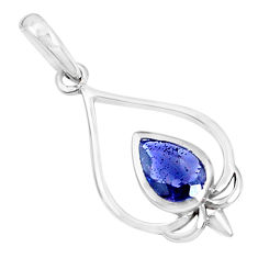 2.48cts natural blue iolite pear 925 sterling silver pendant jewelry p36347