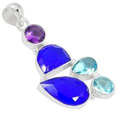 Natural blue jade amethyst quartz 925 sterling silver pendant jewelry h94376