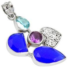 Natural blue jade amethyst quartz topaz 925 sterling silver heart pendant h93326