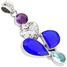 Natural blue jade amethyst topaz 925 sterling silver heart pendant h93339