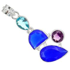 Natural blue jade amethyst topaz 925 sterling silver pendant jewelry h96175