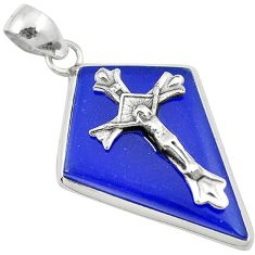Natural blue jade fancy 925 sterling silver holy cross pendant jewelry h94654