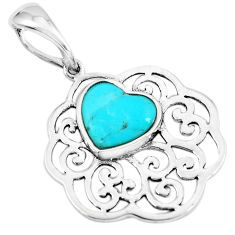 3.87cts natural blue kingman turquoise 925 sterling silver heart pendant c1683