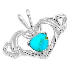 3.41cts natural blue kingman turquoise 925 sterling silver pendant jewelry c1625