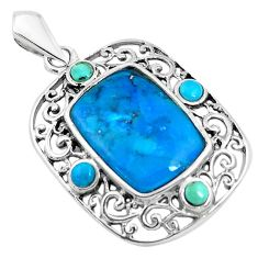 6.27cts natural blue kingman turquoise 925 sterling silver pendant jewelry c1629