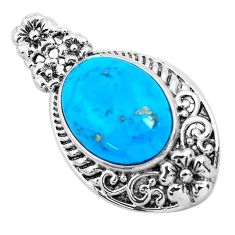 9.07cts natural blue kingman turquoise 925 sterling silver pendant jewelry c1649