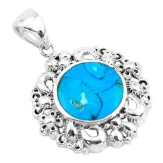 6.36cts natural blue kingman turquoise 925 sterling silver pendant jewelry c1669