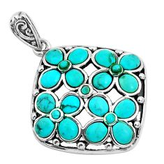 6.32cts natural blue kingman turquoise 925 sterling silver pendant jewelry c1687