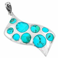 8.22cts natural blue kingman turquoise 925 sterling silver pendant jewelry c1694