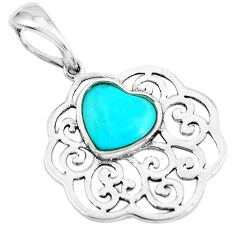 4.43cts natural blue kingman turquoise 925 sterling silver pendant jewelry c1735