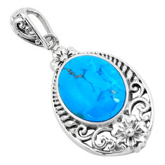 5.84cts natural blue kingman turquoise 925 sterling silver pendant jewelry c1741