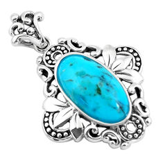 6.83cts natural blue kingman turquoise 925 sterling silver pendant jewelry c1742